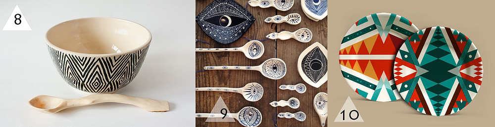 a selection by Angry Pixie of ceramics with ethnic inspired patterns.