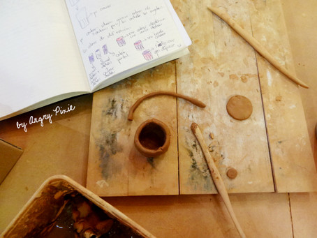 Work in progress : tiny coffee cups and spoons by Angry Pixie