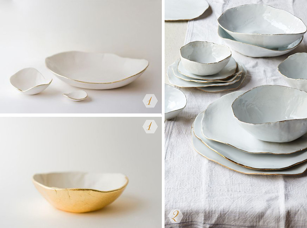 white and gold ceramics selected by Angry Pixie