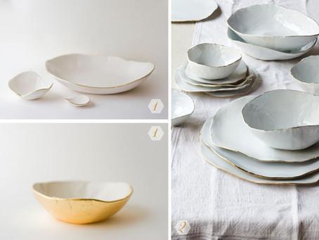 gold + white ceramics