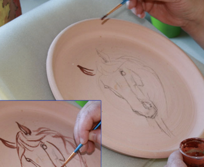 clever ceramic tip: preliminary drawing with pencil onto bisque
