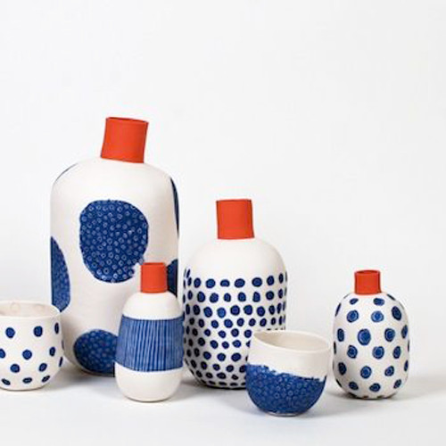 A selection by Angry Pixie of bright and bold colours ceramics