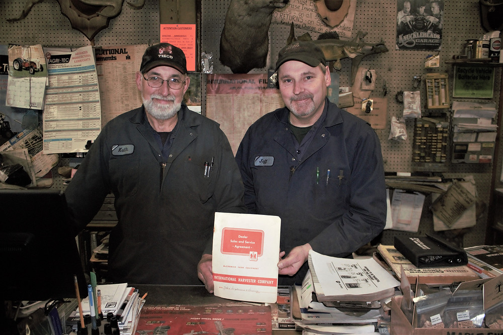 Keith and Jeff Zahrt with the original IH dealer contract
