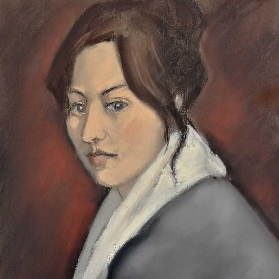 OTERO : Le regard d'Éva avec un écharpe blanche