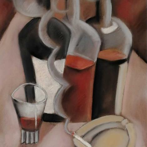 OTERO : Bouteilles et fumée de cigarette
