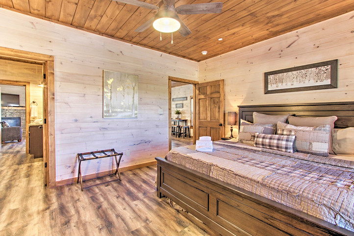 This bedroom is located off the living room