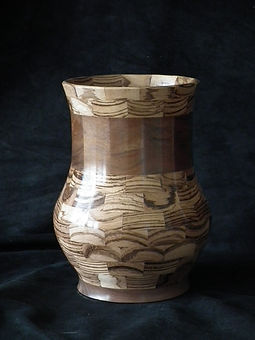 Vase - Zebra Wood & Walnut - 9""