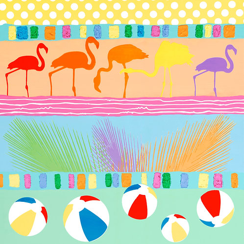 Beach Hieroglyphs with Flamingos