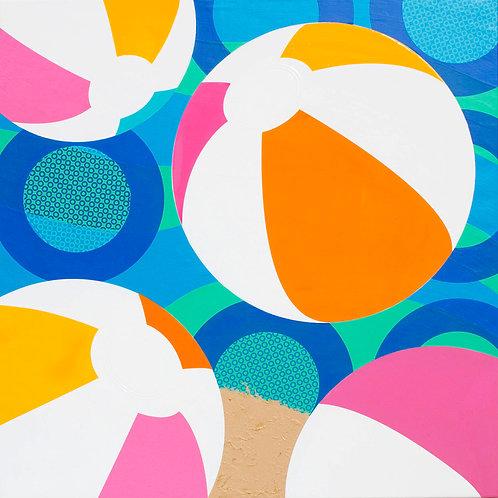 Four Beach Balls in Waves