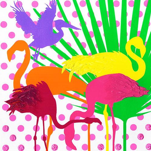 Four Flamingos and a Pelican