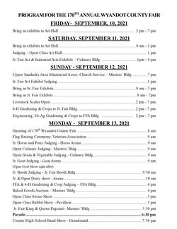 2021 Fair Schedule