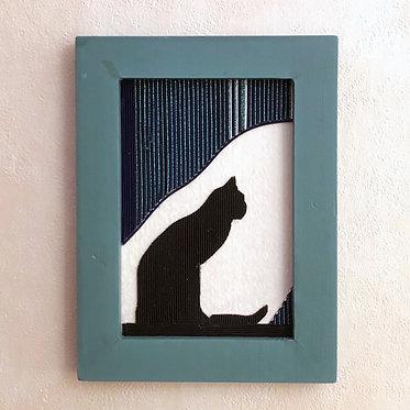 水引の飾り額[佇む猫]