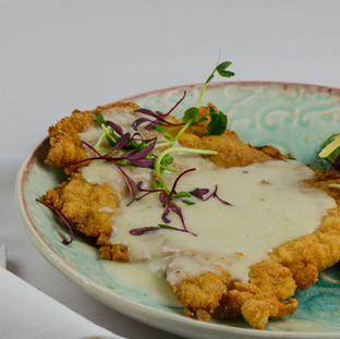 Wiener Schnitel with Blue Cheese sauce