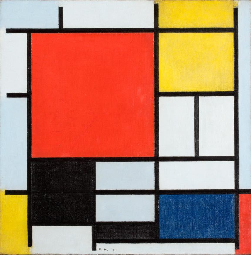 ピート・モンドリアン 《大きな赤の色面、黄、黒、灰、青色のコンポジション》 1921年 油彩、カンヴァス デン・ハーグ美術館 Kunstmuseum Den Haag