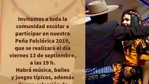 Peña folclórica en nuestro colegio: 13 de septiembre.