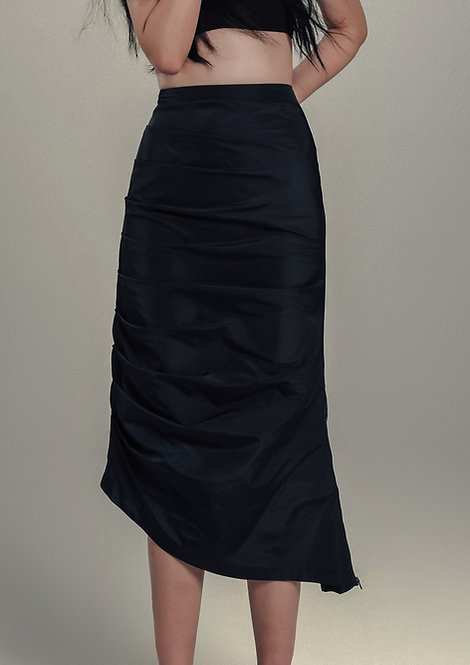 Navy Shirring Midi Skirt