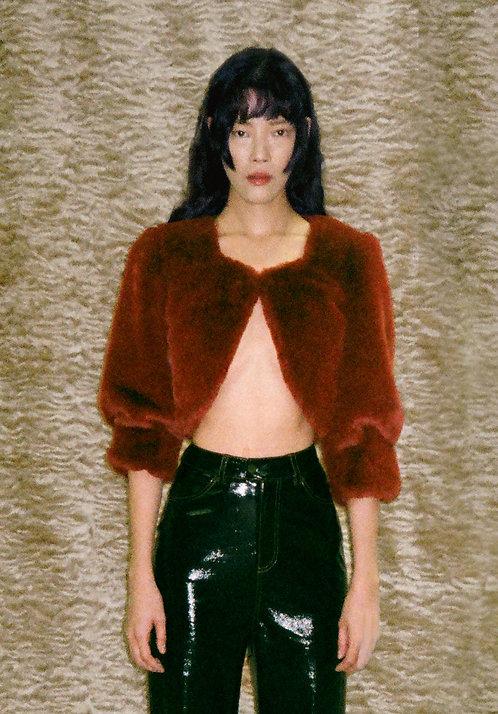Burgundy Cropped Faux Fur