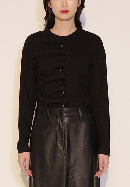 Black Scalloped Ribbed Cotton Cardigan