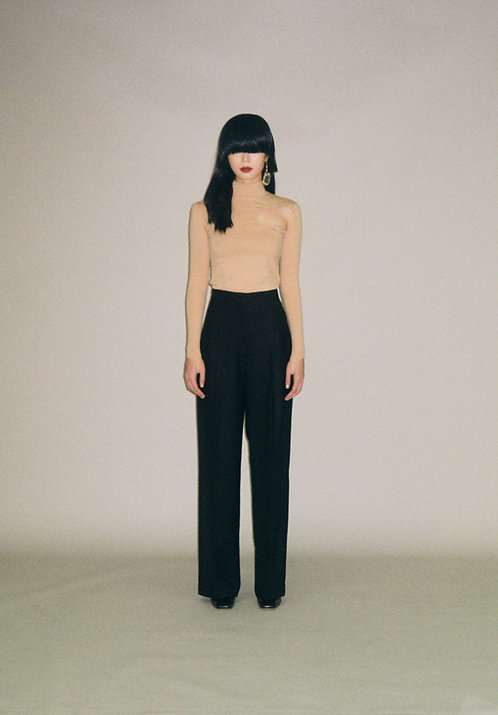 BLACK TWILL HIGH WAISTED TROUSERS