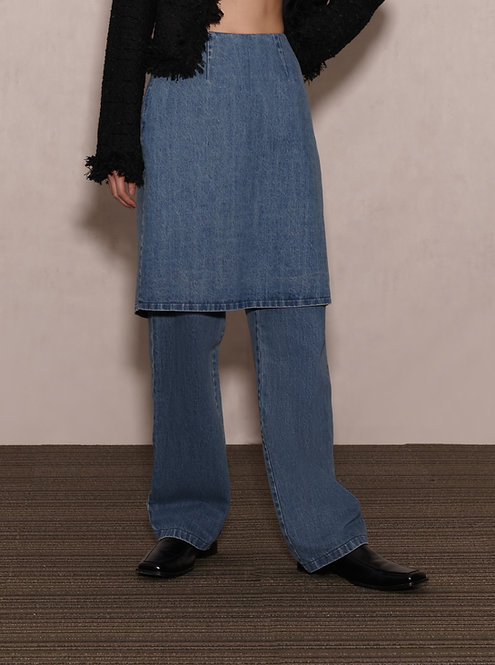 Denim Skirt-Effect Trousers