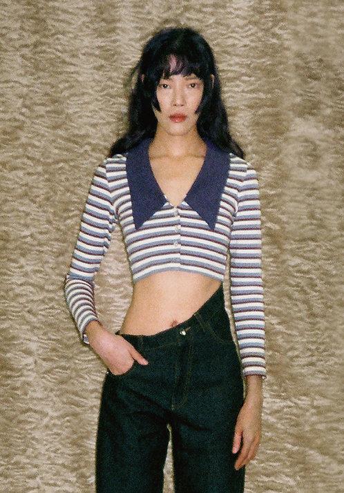Purple & White Striped Cardigan