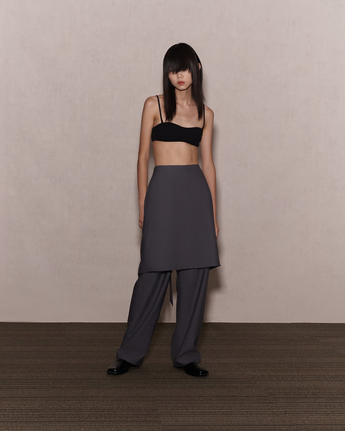 Grey Skirt-Effect Trousers