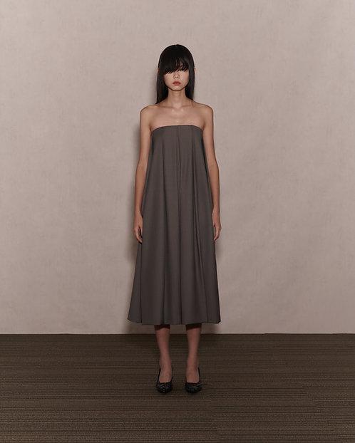 Grey Green Strapless Pleated Dress