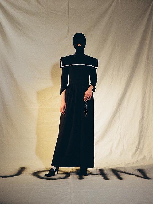NAVY STRIPED DRESS WITH PILGRIM COLLAR