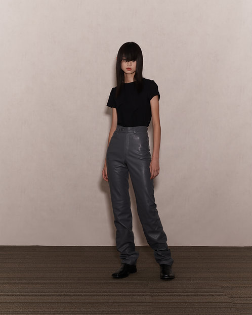 Grey Faux Leather Trousers
