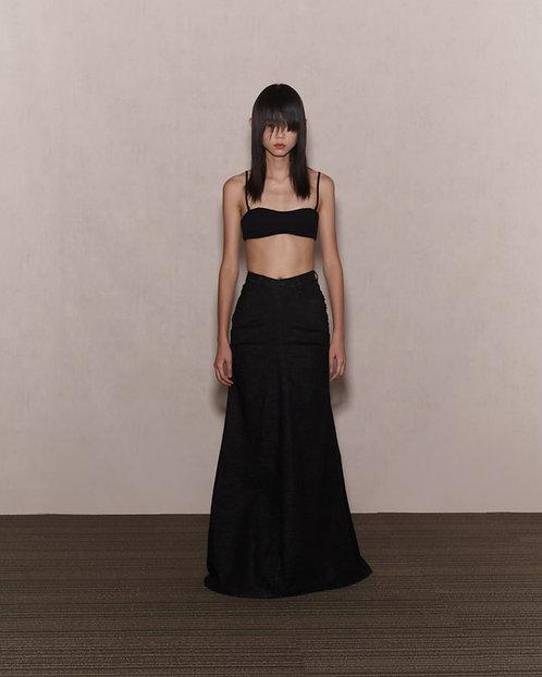 Black Denim Trailing Skirt