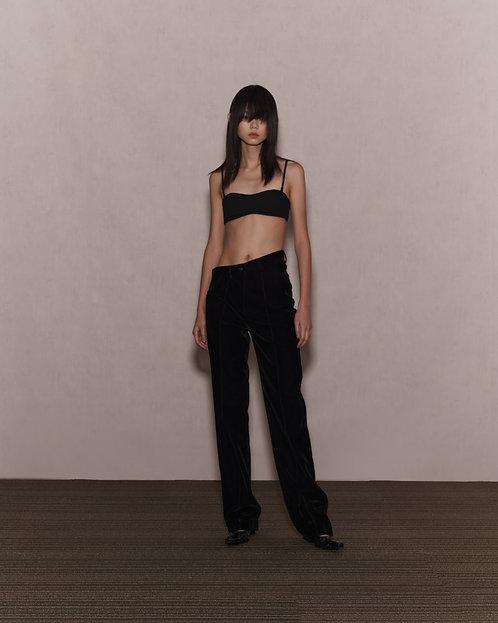 Velvet Oblique High Waist Trousers