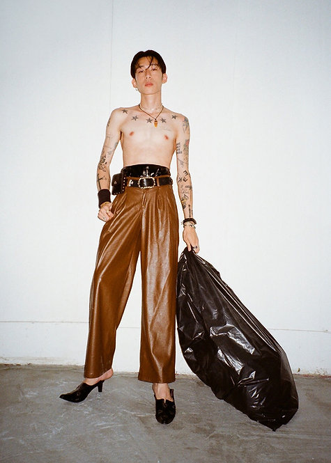 BROWN WIDE LEG LEATHER TROUSERS