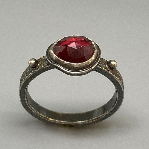Jan Gordon Rose Cut Garnet Rustic Sand Ring