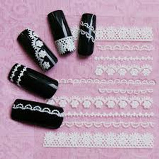 Lace Nail Art Stickers - Available in black or white