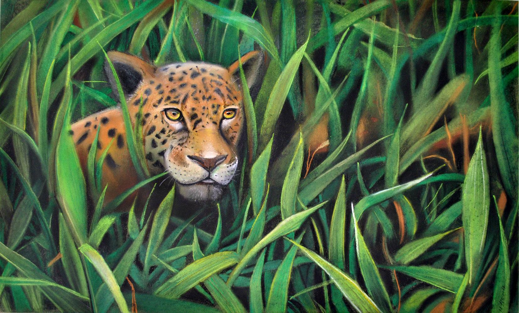 """Картина пастелью """"Леопард"""""""