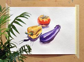 Акварельный скетч. Рисуем овощи. Этюд акварелью. Онлайн курсы рисования