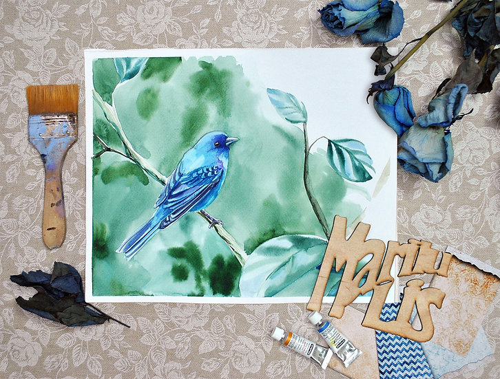 """Синяя птица"" картина акварелью"