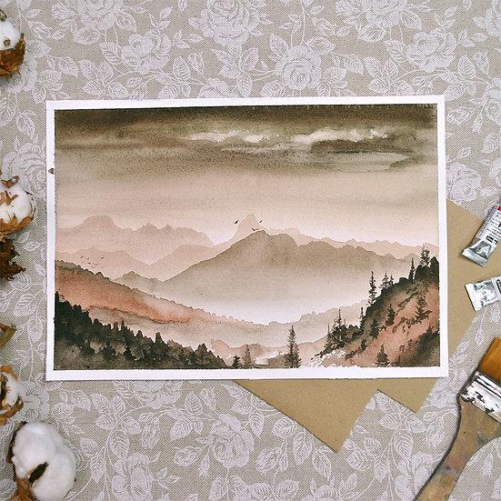 Акварель «Горный пейзаж 1»