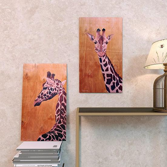 """""""Жирафы"""" диптих на дереве"""