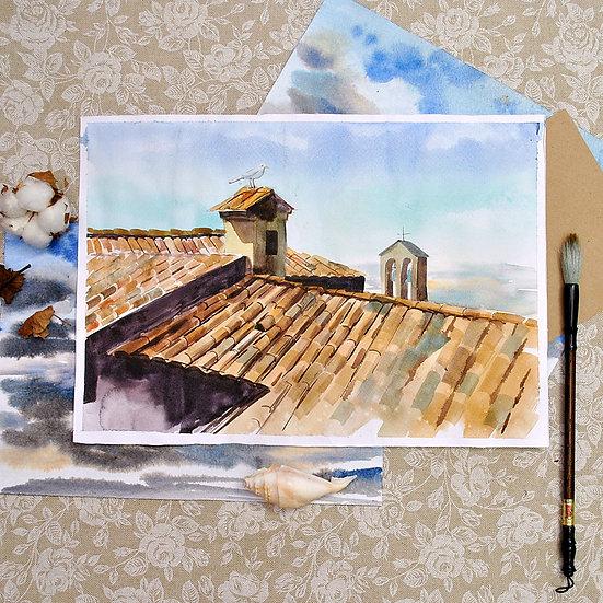 «Черепичные крыши» картина акварелью
