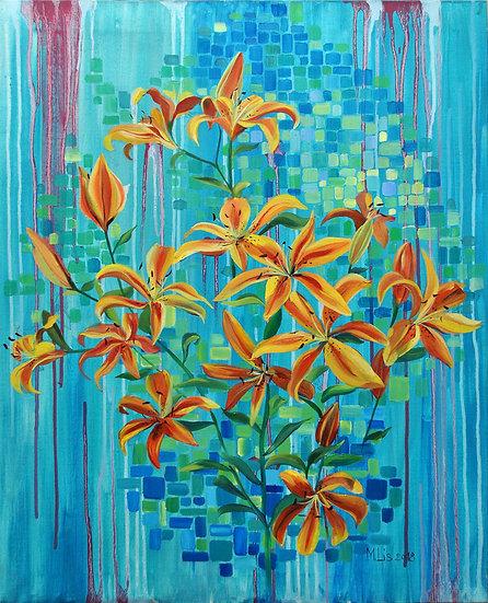 «Садовые Лилии» картина маслом
