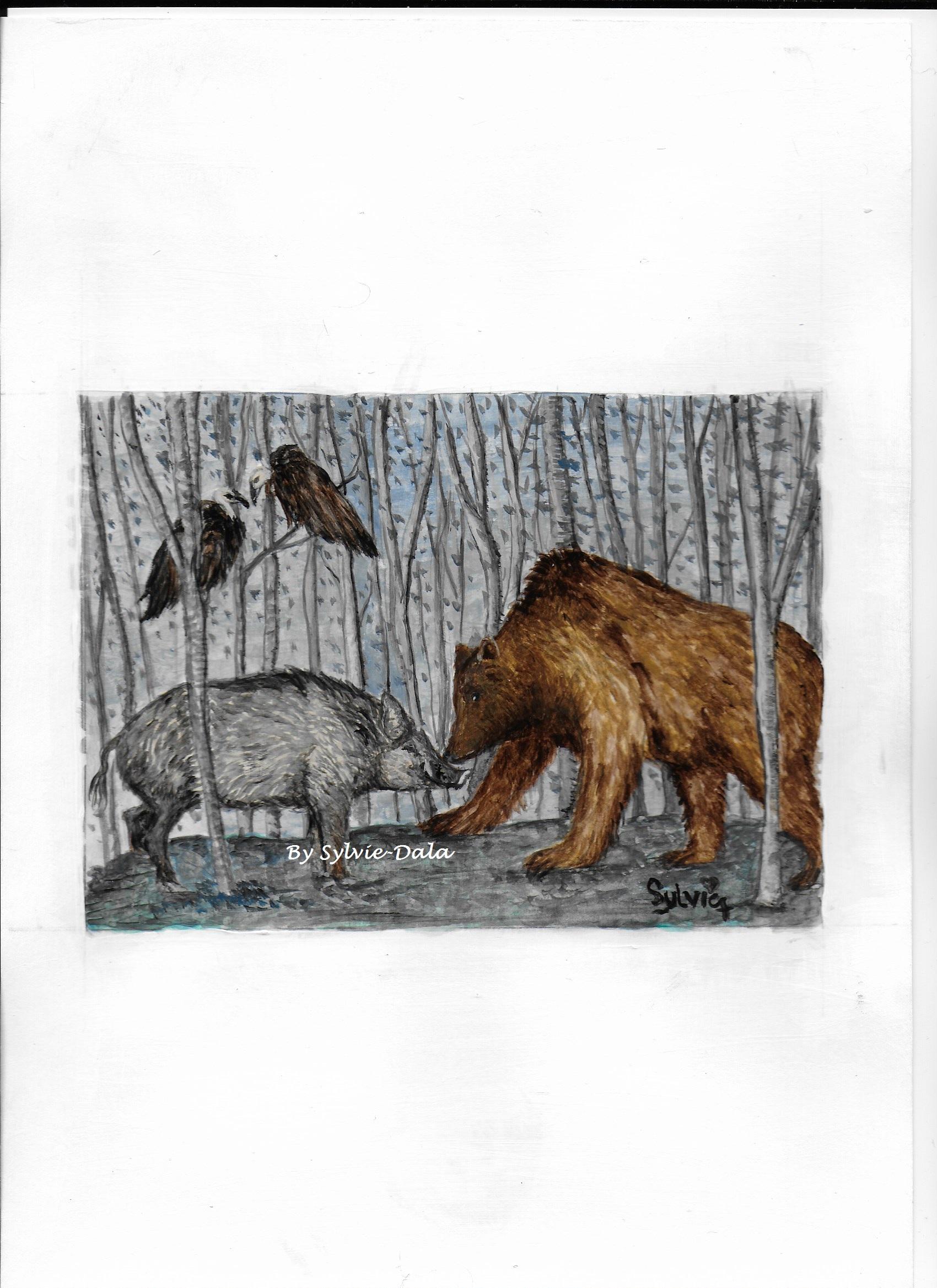 L'ours, le sanglier et les vautours
