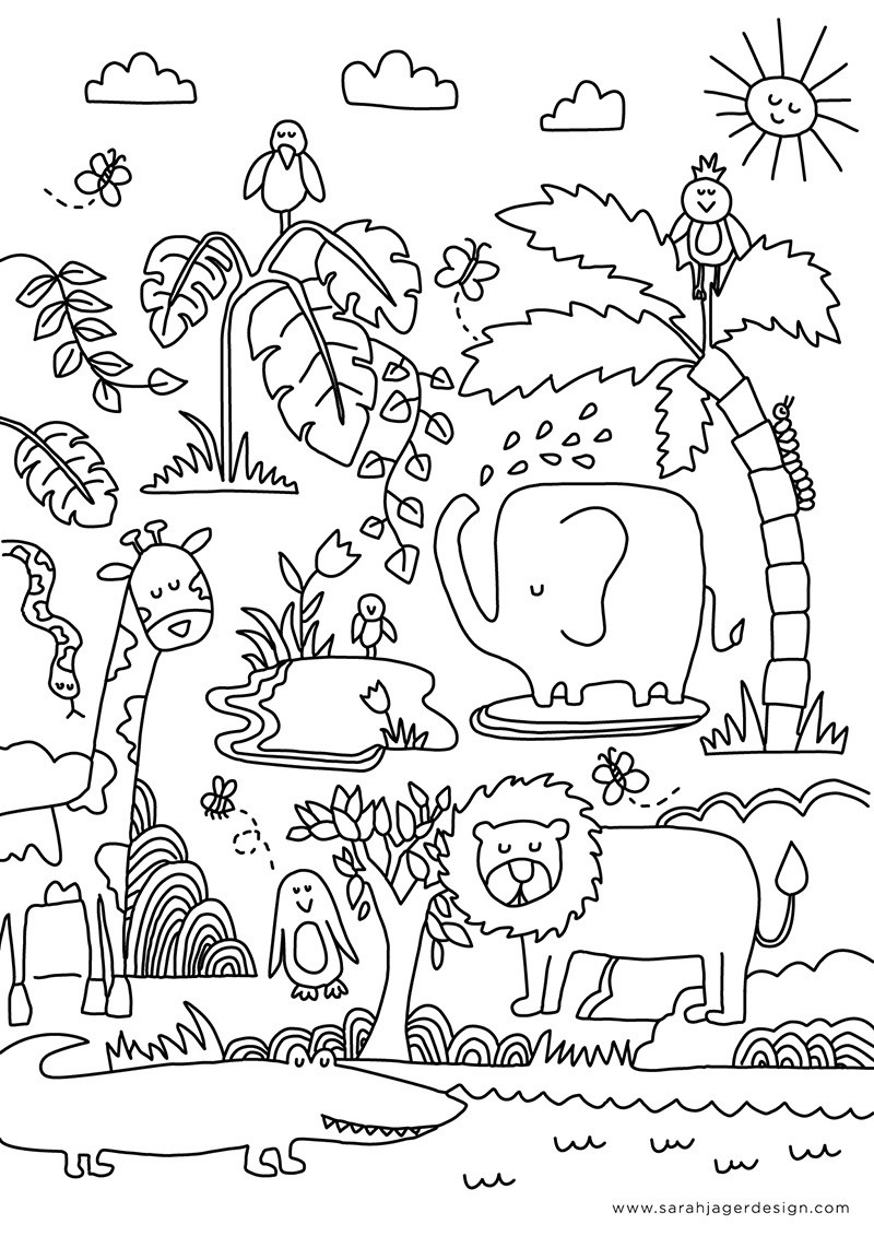 African jungle coloring page free pdf download