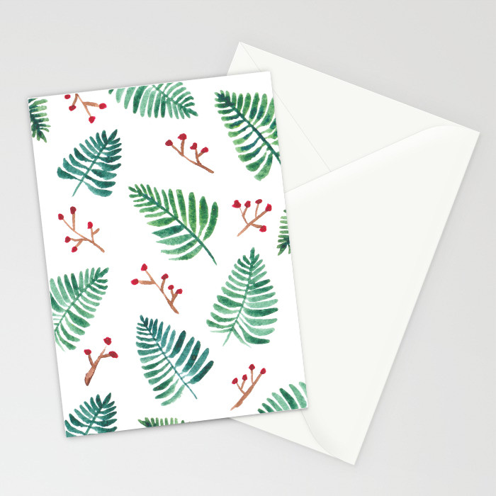 Holly and leaves Christmas Card