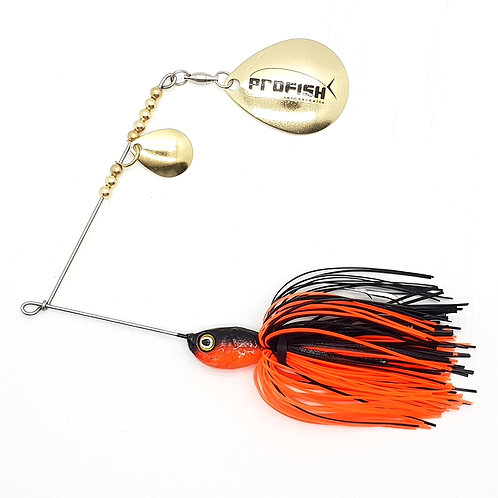 Black n Fluro Orange - 5/8oz Spinnerbaits