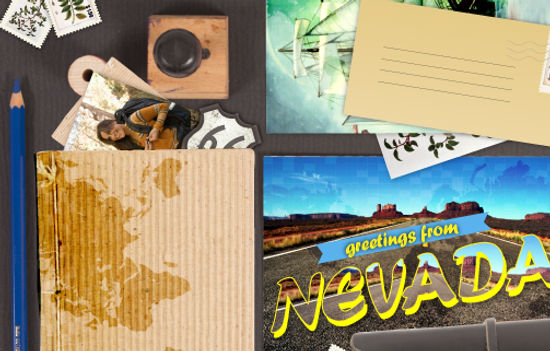 Nevada greeting card ad travel items