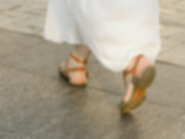 Canva - Feet Walking on the Sidewalk Gir