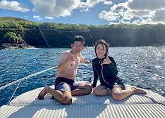 ハワイ島のドルフィンスイム参加者のイヌヅカさま