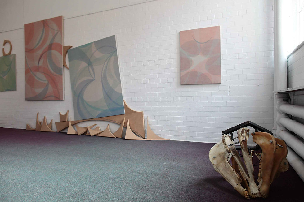 Curated by Michael Forbes, work Yelena Popova & Nadim Chaudry, Primary, Paintings, Drawing,