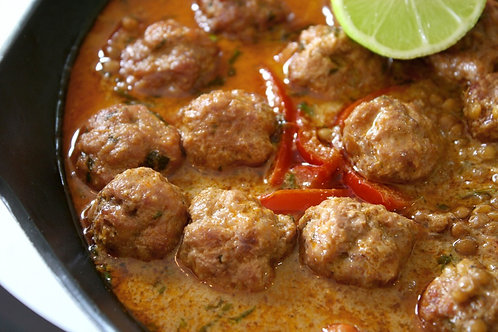 Thai Pork Balls w Red Coconut Curry